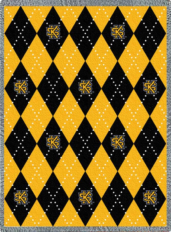 Image For Argyle Throw Blanket (Black and Gold)