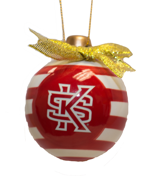 Image For Candy Striped Interlocking KS Ornament Bulb