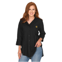 Image For UGApperal Women's Pleated Button Up Tee