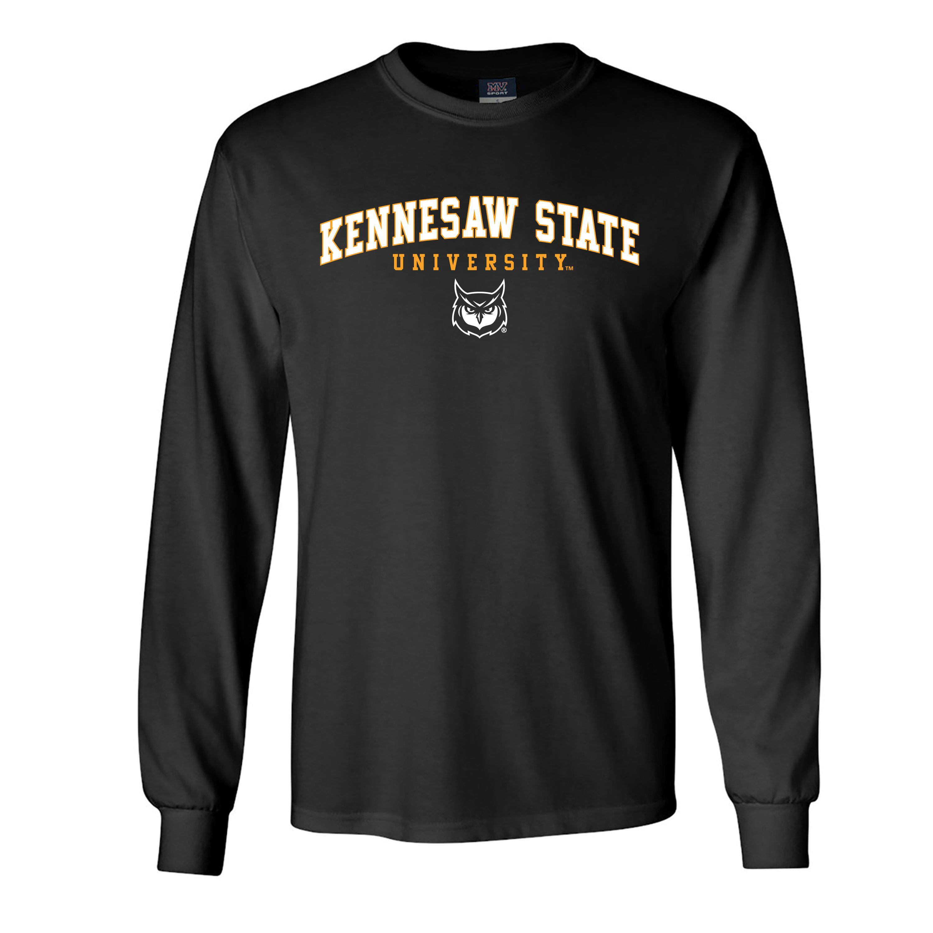 Image For MV Sport Arched Kennesaw State Owl Face Long Sleeve Tee